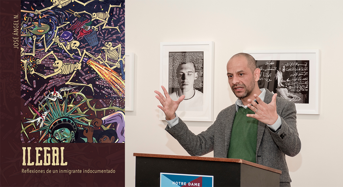 collage showing the cover of Illegal and José Ángel Navejas giving a talk
