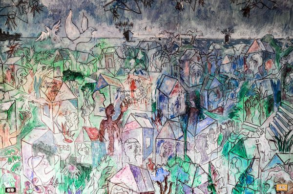 abstract mural depicting a cityscape