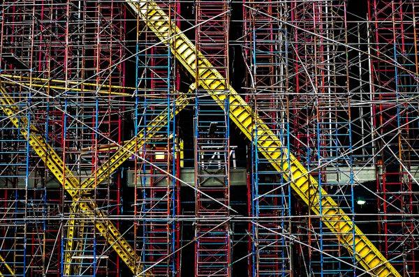 multicolored scaffolding