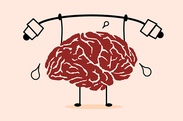 cartoon of a weightlifting brain