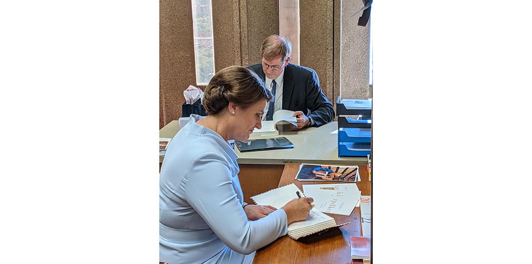 Giedrius Subačius & Diana Nausėdienė reading